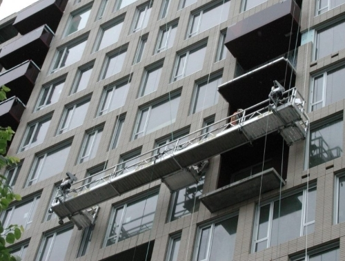 window cleaning equipment on high rise